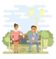 Couple on a park bench vector image