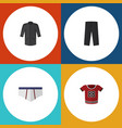 flat icon clothes set of t-shirt uniform vector image