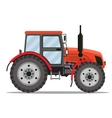 Flat tractor on white background vector image