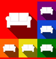 sofa sign set of icons with vector image