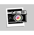 Vintage photo camera out of photoframe vector image