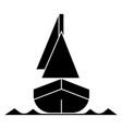 yacht front veiw icon black vector image
