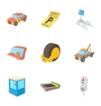 Parking station icons set cartoon style vector image