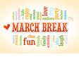 March Spring School Break Word Cloud Bubble Tag vector image vector image