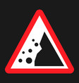 falling rocks sign flat icon vector image
