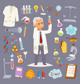 science man character professor lab icons vector image