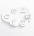 White cloud computing symbols vector image