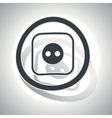 Socket sign sticker curved vector image