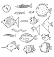 cute fish set outlined vector image vector image