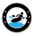 circular frame with man in kayak vector image