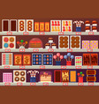 confectionery sweets at stall or stand at shop vector image