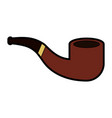 cute brown smoke pipe cartoon vector image
