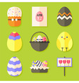 Easter icons set with shadows over green vector image