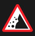 falling rocks sign flat icon vector image