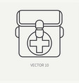 Line flat hunt and camping icon first-aid vector image