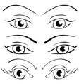 Set female eyes on a white vector image