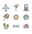 summer vacation colored icons set 01 vector image