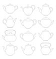 line tea pots signs vector image vector image