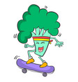 Broccoli playing skateboard character style vector image