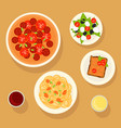 traditional italian dishes set vector image