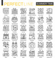 summer time outline concept symbols vacation vector image