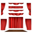 Red Curtain And Stage Icons Set vector image