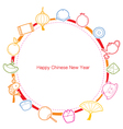 Chinese New Year Outline Icons Set On Round Frame vector image