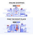 Flat design concept banner - online shopping and vector image