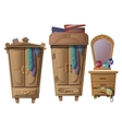Set of wooden furniture in dressing room vector image