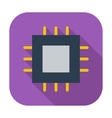Electronic chip flat icon 2 vector image vector image
