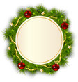 round Christmas wreath of fir branches vector image