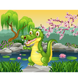 Cute little crocodile presenting vector image