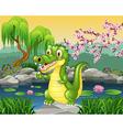 Cute little crocodile presenting vector image