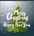 merry christmas and happy new year text on blurred vector image