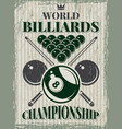 retro sport poster for billiard club vector image