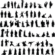 Asian silhouettes set vector image vector image