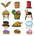 Doodle of thanksgiving set colorful vector image