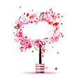 floral frame tree vector image vector image