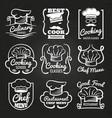 chef hat emblem - cafe restaurant or bakery logos vector image