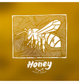Linocut with a picture of bee and honey label vector image
