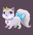 little cute cartoon kitty princess vector image