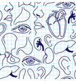 Seamless background with sketches of human organs vector image