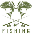 vintage fishing design template with salmon vector image