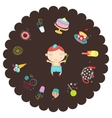 boy with sweets vector image