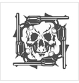 Gangster skull and frame of pistols vector image