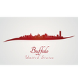 Buffalo skyline in red vector image