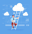 businessman climb up ladder stairs concept vector image