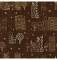 Chocolate Brown Town Houses Trees Streets vector image