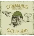 Gorilla-soldier in hat vector image