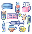 medicines and medical objects set treatment of vector image